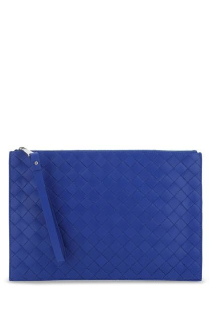 Electric blue leather large clutch