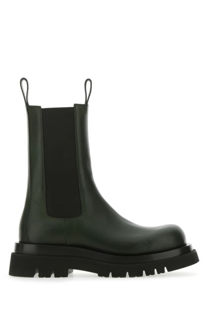 Black leather Lug boots