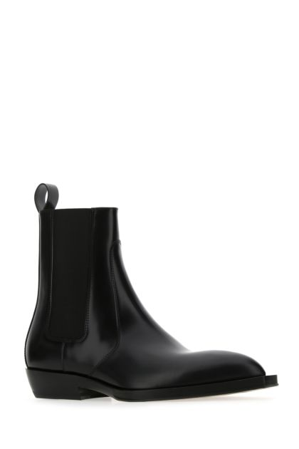 Black leather Chisel ankle boots