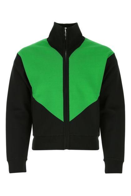 Two-tone stretch viscose blend sweatshirt