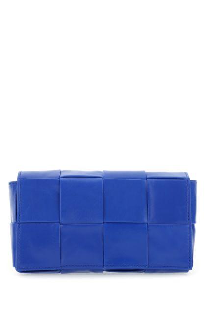 Electric blue leather Cassette belt bag