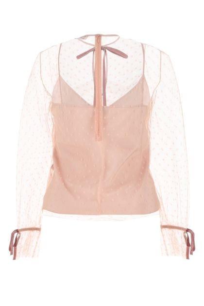 Powder pink tulle blouse