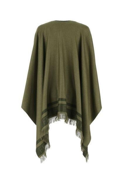 Army green silk blend cape