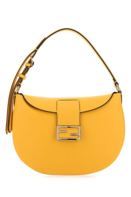 Yellow leather small Croissant shoulder bag