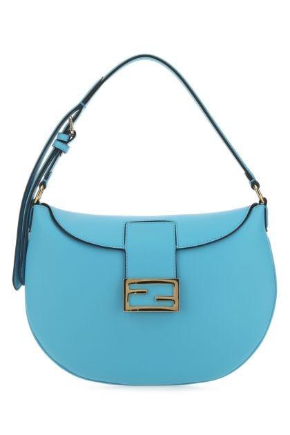 Light blue leather small Croissant shoulder bag