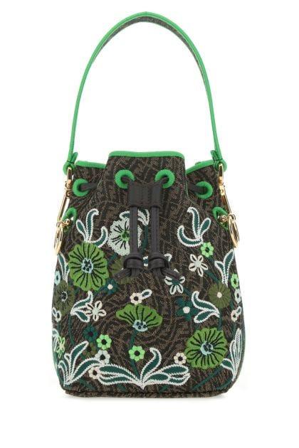 Embroidered canvas mini Mon Tresor bucket bag