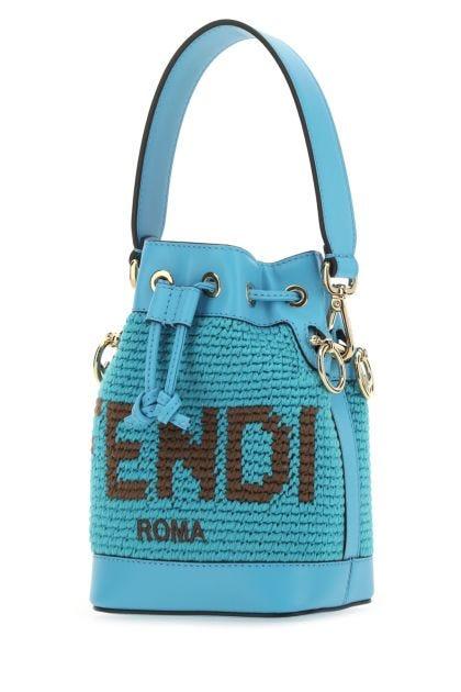 Light blue cotton small Mon Tresor bucket bag