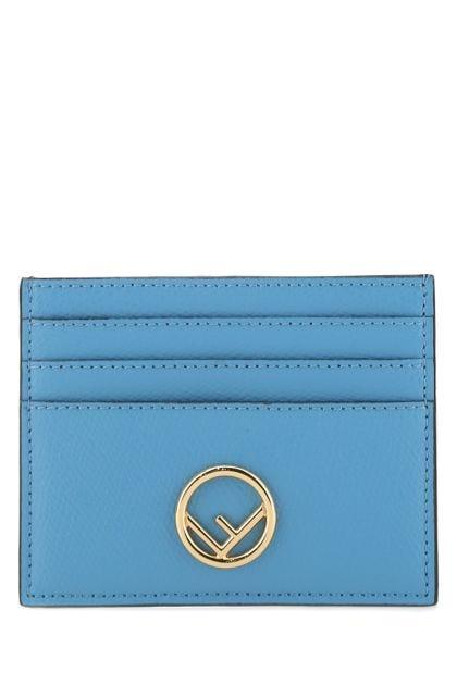 Light blue leather card holder