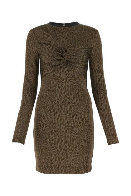 Embroidered stretch viscose blend dress