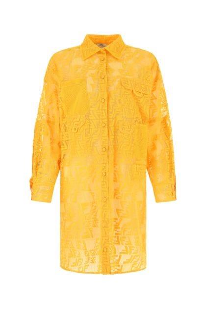 Yellow cotton blend dress
