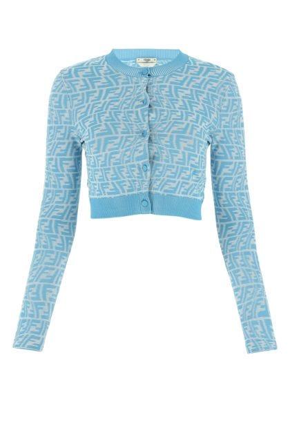 Embroidered viscose blend cardigan