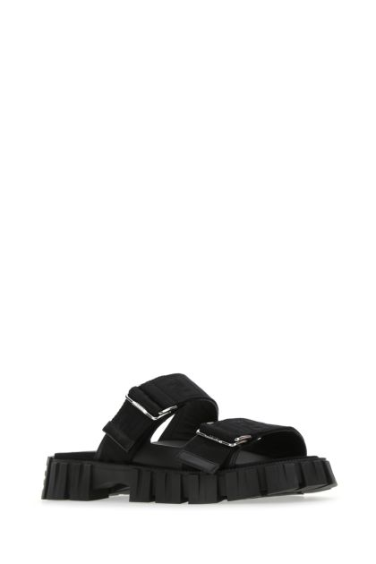 Black fabric Fendi Force slippers
