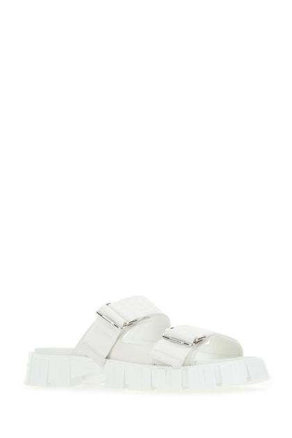 White fabric Fendi Force slippers
