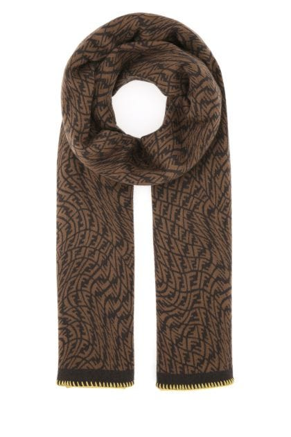 Embroidered wool blend scarf