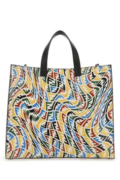Printed leather shopping bag
