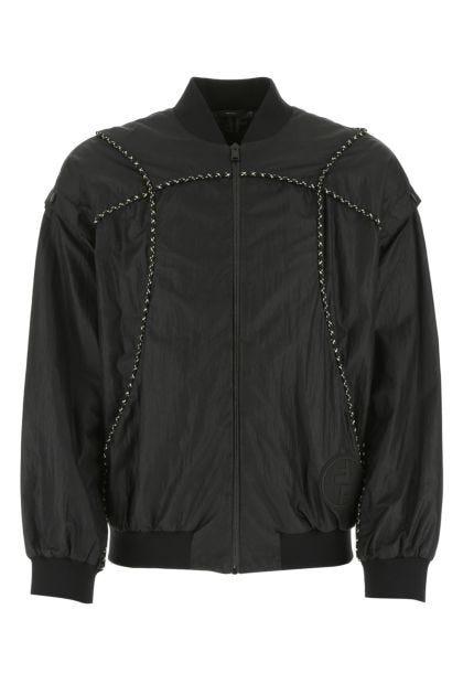 Black nylon bomber jacket