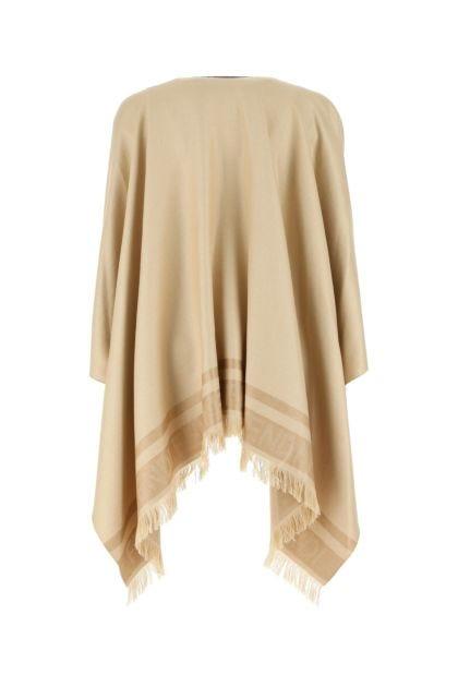 Beige silk blend cape