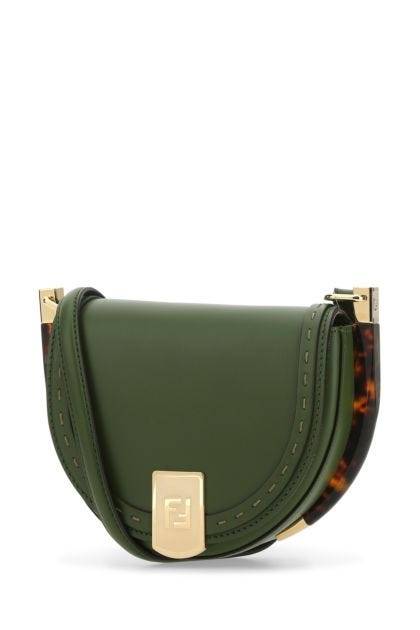 Olive green leather Moonlight crossbody bag