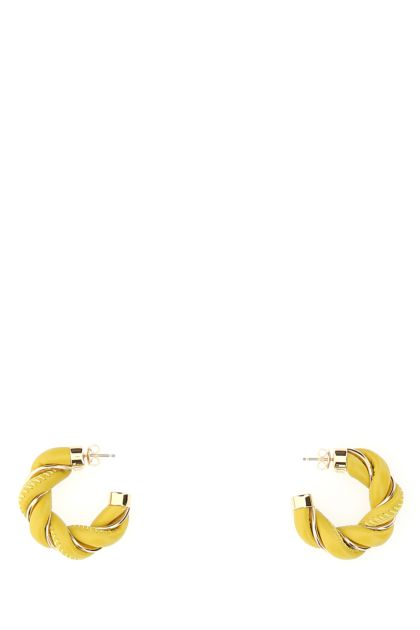Yellow nappa leather and 925 silver Twist earrings