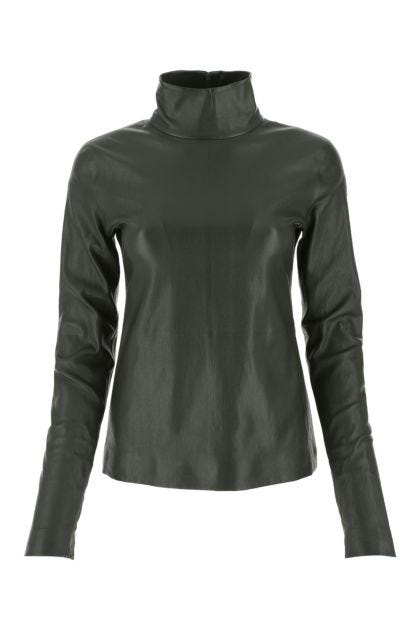 Bottle green nappa leather top