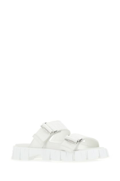 White fabric Force slippers