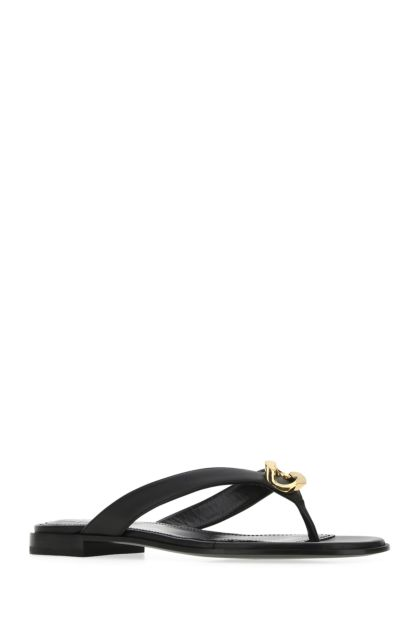 Black nappa leather thong slippers