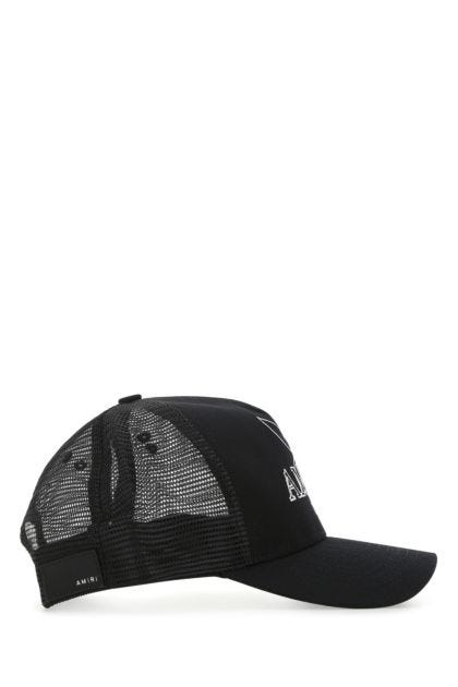 Black cotton and mesh hat