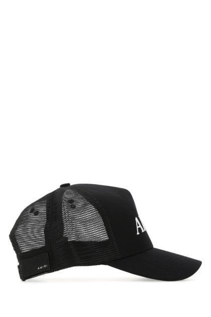 Black cotton and mesh baseball cap