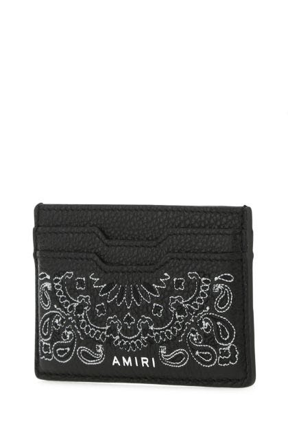 Black nappa leather Bandana card holder