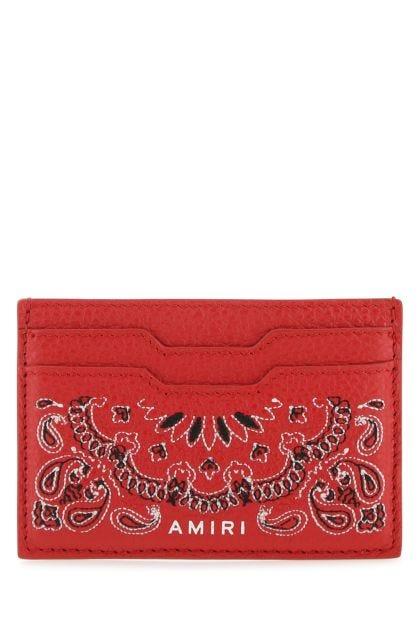 Red nappa leather Bandana card holder