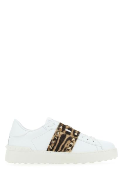 White leather Rockstud Untitled sneakers with printed band