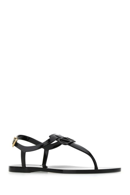 Black rubber VLogo Signature thong sandals