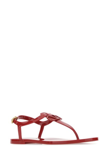 Red rubber VLogo Signature thong sandals