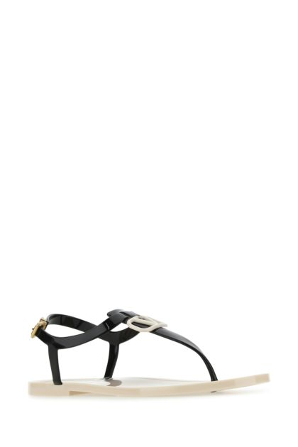 Two-tone rubber VLogo Signature thong sandals