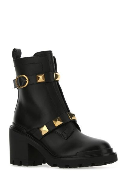 Black leather Roman Stud ankle boots