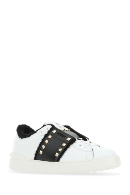 White leather Rockstud Untitled sneakers with black band