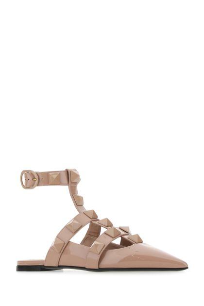 Powder pink leather Roman Stud ballerinas