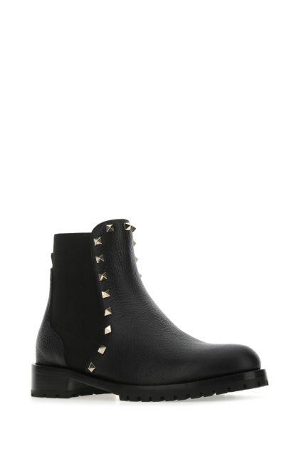Black leather Rockstud ankle boots