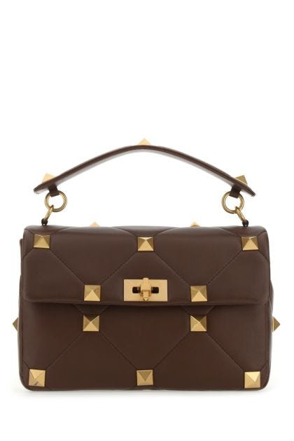 Chocolate nappa leather large Roman Stud handbag