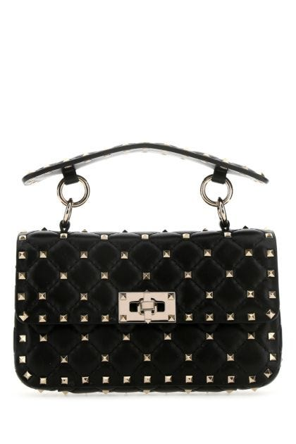 Black nappa leather small Rockstud Spike handbag