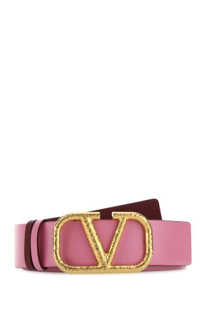 Pink leather VLogo reversible belt
