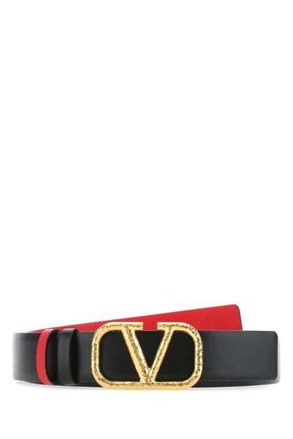 Black leather VLogo reversible belt