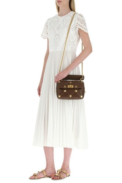 Brown nappa leather medium Roman Stud handbag