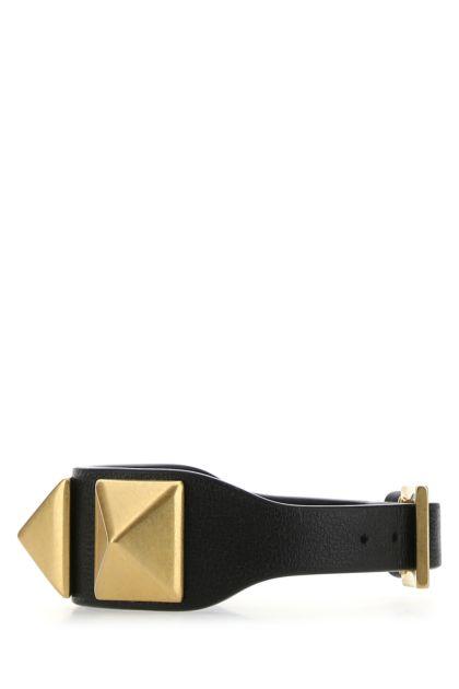 Black leather Roman Stud bracelet