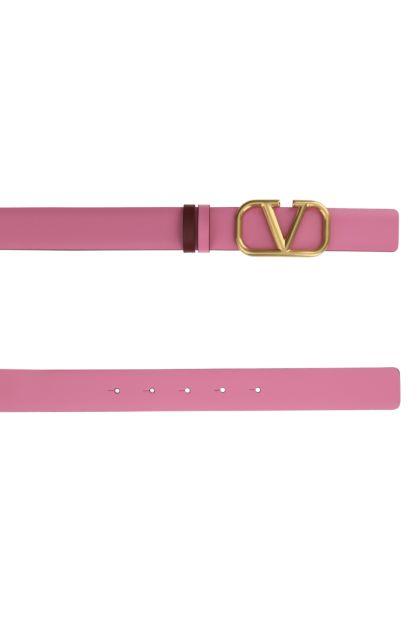 Pink leather VLogo Signature reversible belt