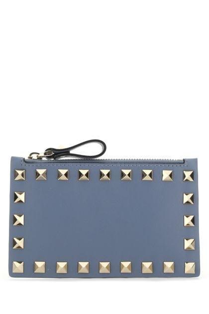 Powder blue leather Rockstud card holder