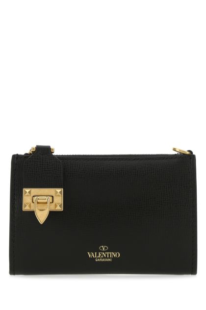 Black leather Rockstud coin purse
