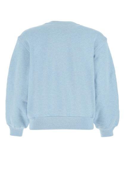 Melange light-blue cotton sweatshirt
