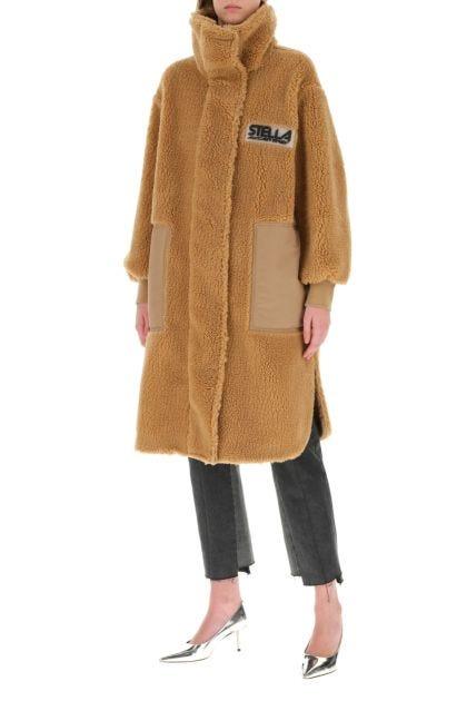 Beige eco fur coat