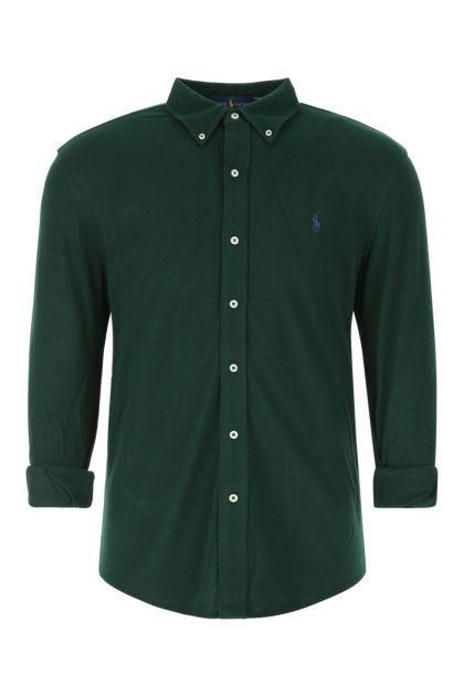 Bottle green piquet polo shirt